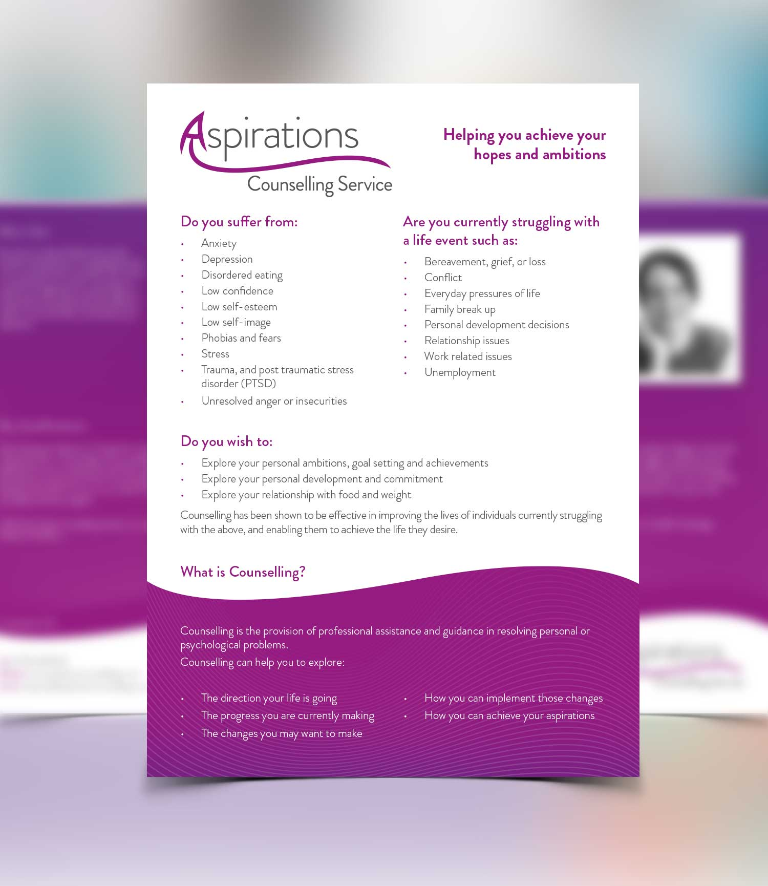 Aspirations Counselling Flyer