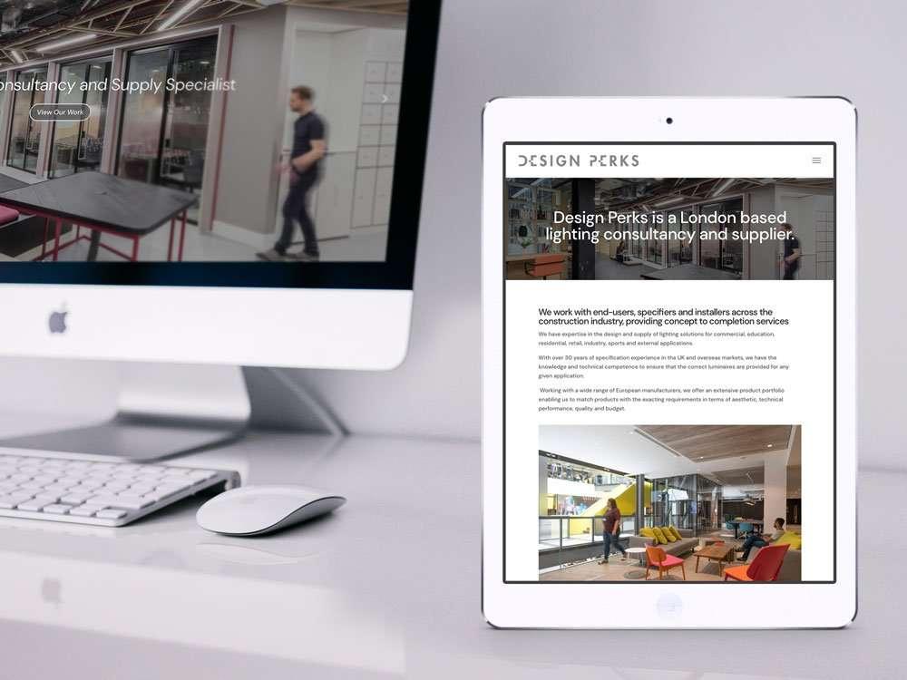 Design Perks Website on iPad & iMac